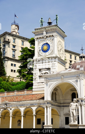 View of the Clocktower and the Castle of Udine, Friul, Italy - Stock Photo