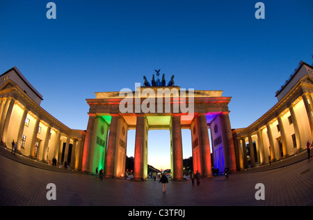 The Brandenburg Gate during the Festival of Lights 2008, Berlin, Germany - Stock Photo