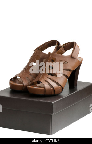 Pair of brown shoes on top of box - Stock Photo