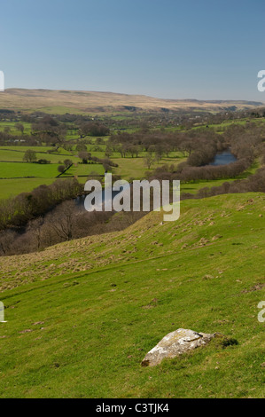 Looking up Teesdale valley from Eggleston towards Middleton in Teesdale - Stock Photo