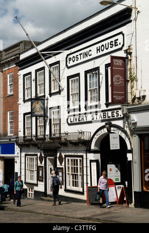 Guildford High Street. Angel Hotel an old coaching inn posting House and Livery stables. Surrey Uk. - Stock Photo