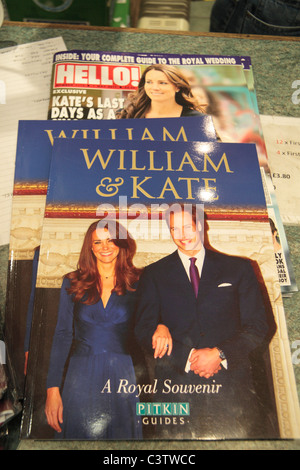 Souvenir book and 'Hello' magazine produced to celebrate the Royal Wedding of Prince William & Kate Middleton, 29th - Stock Photo