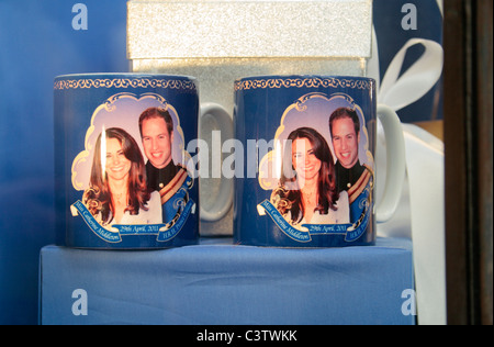 Souvenir mugs in the Westminster Abbey book shop celebrating the Royal Wedding of Prince William & Kate Middleton, - Stock Photo