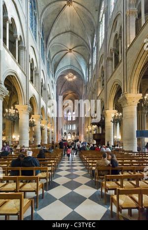 Interior of the Cathedral of Notre Dame de Paris, Ile de la Cite, Paris, France - Stock Photo