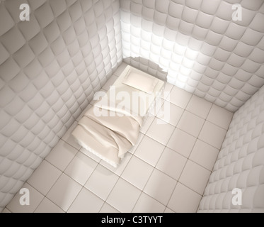 mental hospital padded room seen from above with a single bed