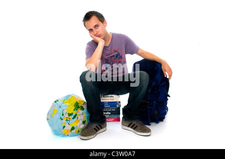 Young man disappointed with travel - Stock Photo