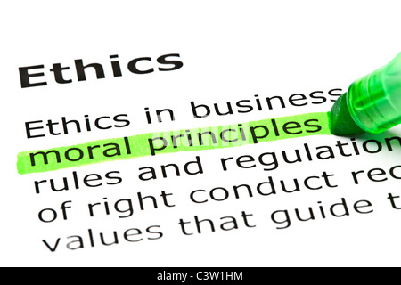 'Moral principles' highlighted in green, under the heading 'Ethics' - Stock Photo