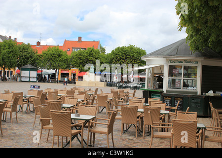Outdoors cafe in down town Helsingør, Denmark - Stock Photo