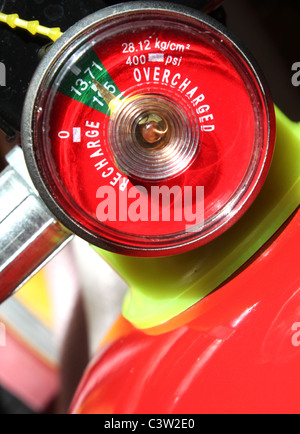 A typical gauge of a full charge fire extinguisher - Stock Photo