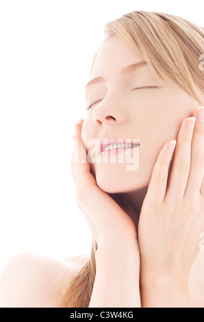 Young woman with eyes closed - Stock Photo