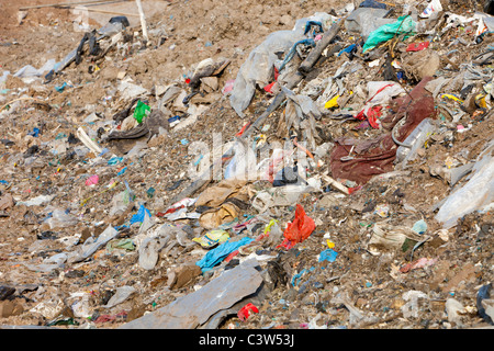 Plastic rubbish in a landfill site on Teeside, UK. - Stock Photo