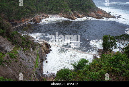 Suspension bridges over Storms river mouth; Tsitsikamma - Western Cape Province - South Africa