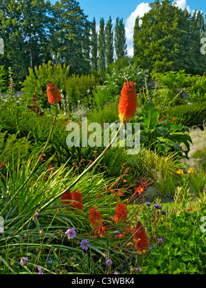 The colourful gardens of La Plessis Sasnieres in the Loire Valley - Stock Photo