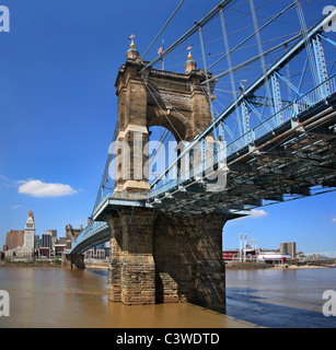 The John A. Roebling Suspension Bridge Over The Ohio River At Cincinnati, Completed In 1866, Prototype For The Brooklyn - Stock Photo