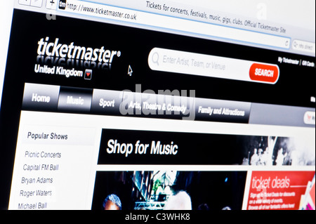 Close up of the Ticketmaster logo as seen on its website. (Editorial use only: print, TV, e-book and editorial - Stock Photo