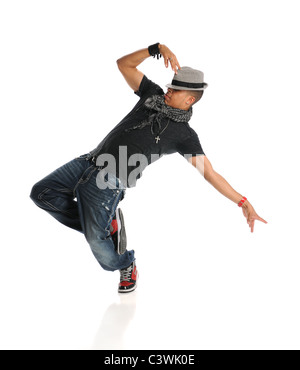 Hip hop dancer performing isolated over white background - Stock Photo