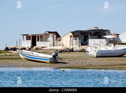 Fishermen's houses on the Ria Formosa Faro , Algarve , Portugal - Stock Photo