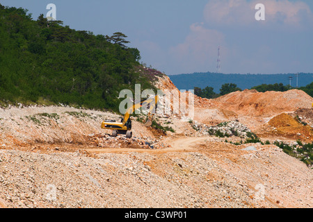 Heavy machine cleaning forest for making new road - Stock Photo