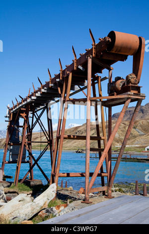 The ruins of the Grytviken whaling station, South Georgia Island - Stock Photo