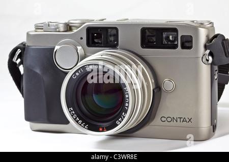 Film camera. Contax G2 35mm rangefinder - Stock Photo