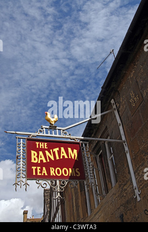 Bantam Tea Rooms sign on the High Street, Chipping Campden, Gloucestershire, England, UK - Stock Photo