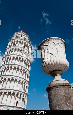 The worldwide famous Leaning Tower standing out against the blue sky, Pisa, Tuscany, Italy - Stock Photo