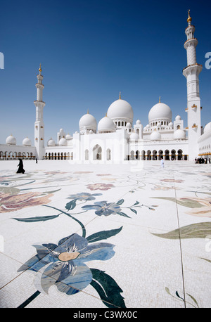 Sheikh Zayed Grand Mosque in Abu Dhabi , United Arab Emirates, UAE - Stock Photo