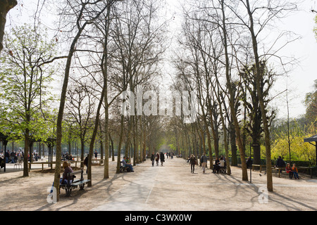 Jardin du Luxembourg in the early spring, 6th Arrondissement, Paris, France - Stock Photo