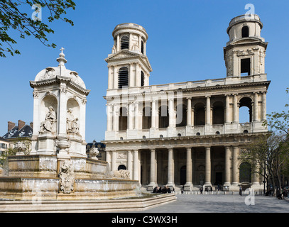 The church of Saint Sulpice, Place St Sulpice, Paris, France - Stock Photo