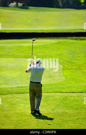 A golfer driving off down the fairway, over a stream, with the ball visible in the distance - Stock Photo