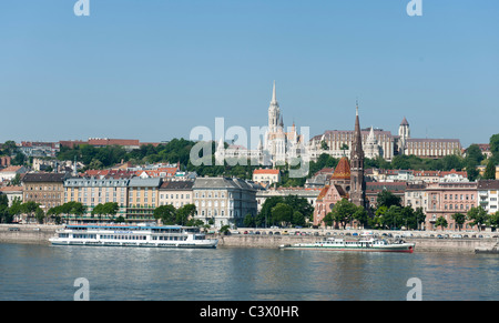 River Danube and Fisherman's bastion in BUdapest, Hungary - Stock Photo