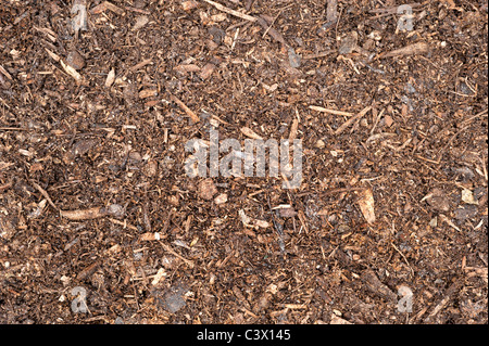 A top down image of freshly spread peat moss topsoil. - Stock Photo