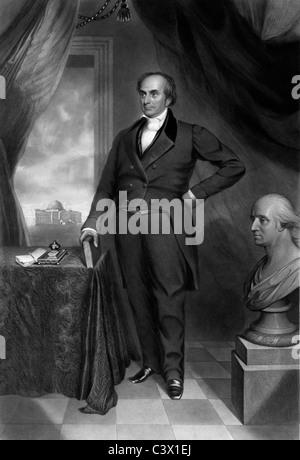 Daniel Webster - USA Senator, Secretary of State, Massachusetts with US Capitol rising in background, circa 1850 - Stock Photo