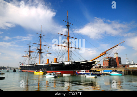 HMS Warrior at Portsmouth historic Dockyard - Stock Photo