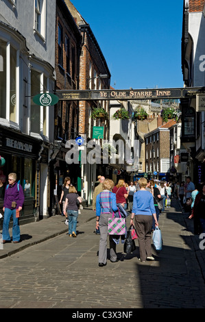 Ye Olde Starre Inne sign above Stonegate York North Yorkshire England UK United Kingdom GB Great Britain - Stock Photo