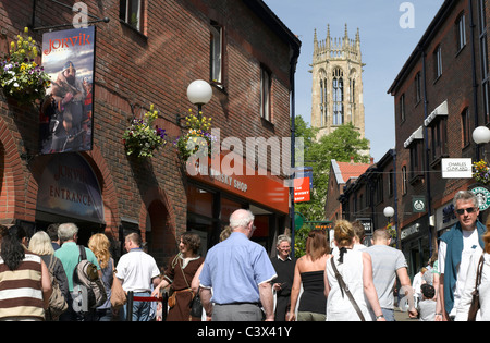 Jorvik Viking Centre Coppergate and All Saints Church in background York North Yorkshire England UK United Kingdom - Stock Photo