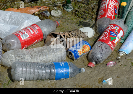 Discarded Plastic Coca Cola Bottles, Soft Drinks Can, Canvas Shoe and Other Waste or Rubbish, Camargue Wetlands, - Stock Photo