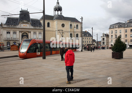 Sarthe - Modern tram transport system in operation in the city of Le Mans - Stock Photo