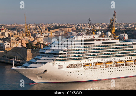Cruise ship Grand Harbour Valletta Malta - Stock Photo