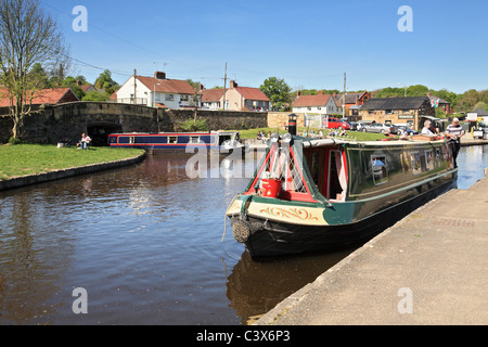 Canal boats at Trefor Basin on the  Llangollen Canal, North Wales, UK - Stock Photo