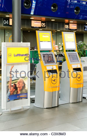 Lufthansa check-in terminals and counter, Leipzig-Halle Airport, Leipzig, Saxony, Germany, Europe - Stock Photo