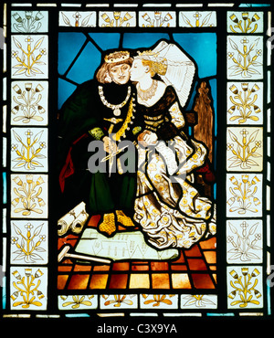 Stained glass panel depicting a scene from King Rene's honeymoon, by Sir Edward Coley Burne-Jones. London, England, - Stock Photo