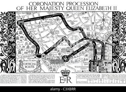 Map of the Coronation Procession of Her Majesty Queen Elizabeth II, from souvenir programme Published by HMSO London - Stock Photo