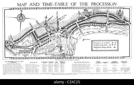 Map and time-table of the procession of King's George Jubilee, from the souvenir programme, published by HMSO. London, - Stock Photo