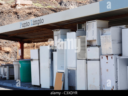 Fridges at council recycling centre, punto limpio (clean point) in Spain - Stock Photo