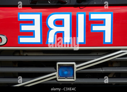 ... British Fire Engine From The 1990s Showing Large Reversed FIRE Sign On  The Front Of The