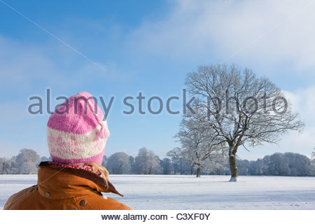 Woman viewing trees and snow covered landscape - Stock Photo
