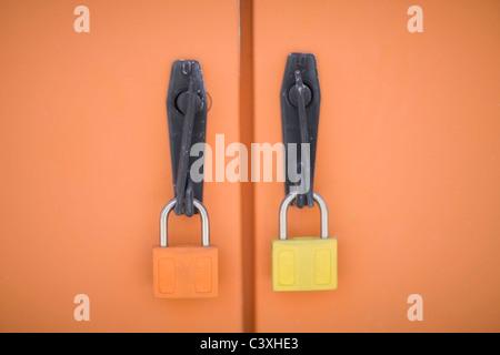 locked industrial doors - Stock Photo