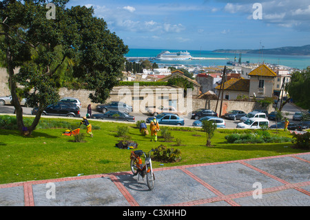 View from Terrasse des Paresseux platform onto Strait of Girbraltar new town Tangier Morocco Africa - Stock Photo