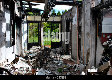 destroyed home after a house fire - Stock Photo